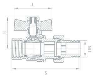 """Кран шаровый латунный  """"BOLARM """", никелированный, бабочка, с нак.гайкой Ду 15,20,25 - 4,2 МПа."""