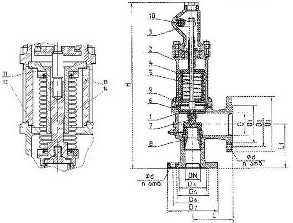 Клапан предохранительный полноподъемный, пружина 3,5-7,0
