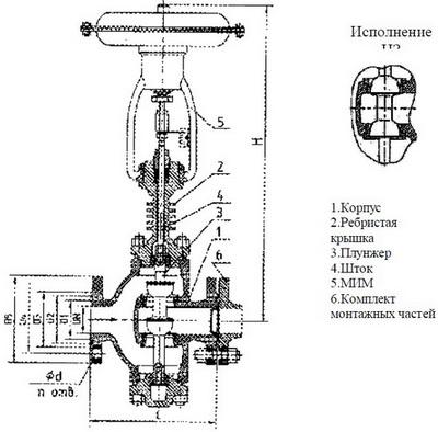 Клапан регулирующий двухседельный с ребристой крышкой, с МИМ, НО