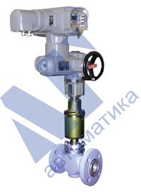 Клапан регулирующе-отсечной угловой футерованный НО или НЗ с пневмоприводом