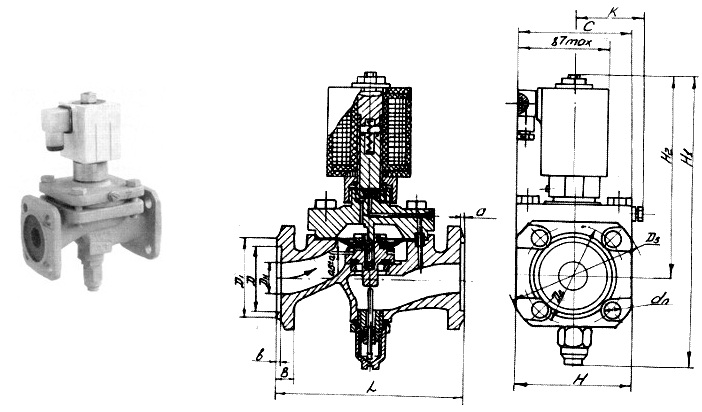 Клапан электромагнитный запорный проходной мембранный