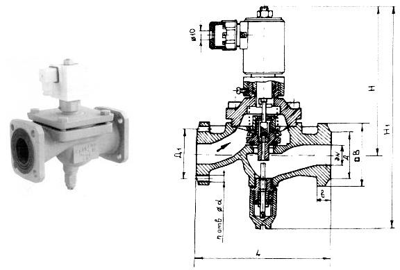 Клапан электромагнитный запорный газовый мембранный с ручным взводом
