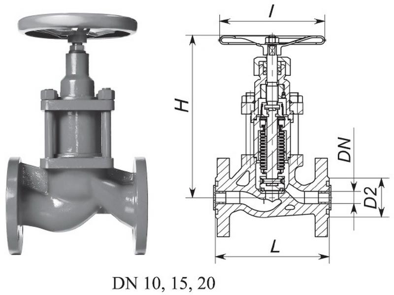 Клапан запорный сильфонный, с маховиком